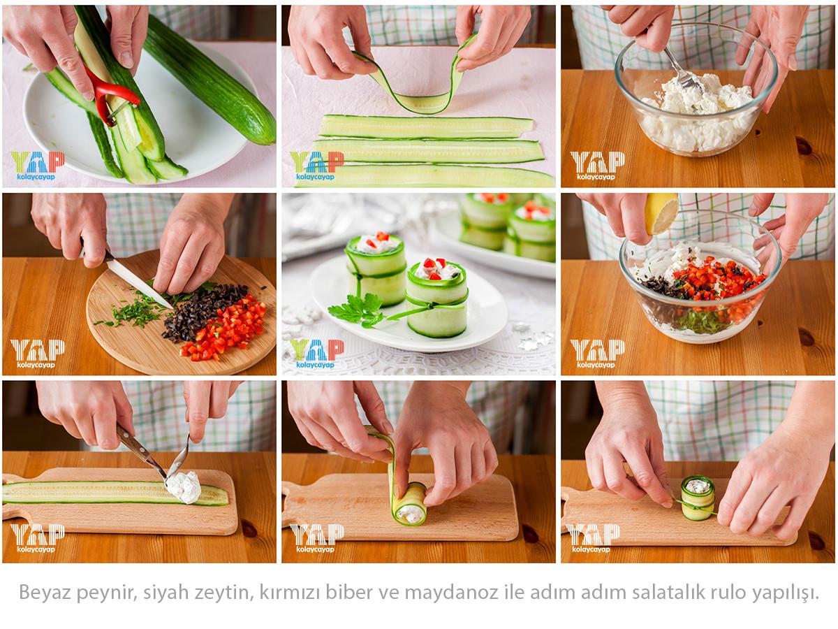 Beyaz-peynir,-siyah-zeytin,-kırmızı-biber-ve-maydanoz-ile-adım-adım-salatalık-rulo-yapılışı