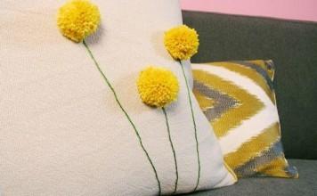 Ponpon çiçekler ile adım adım el işi yastık yapılışı