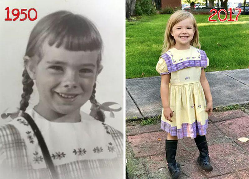 İnanılmaz 67 Yılda Tam 19 Kız Anaokulunun İlk Gününde Aynı Kıyafeti Giymiş...