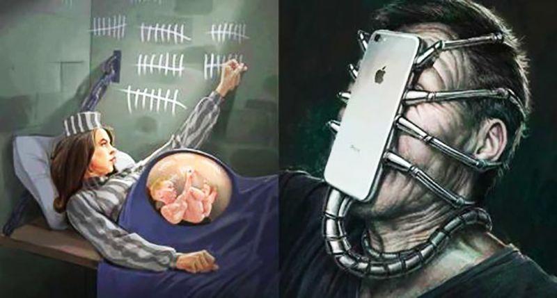 Modern toplumu çok iyi tasvir eden muhteşem çizimler...