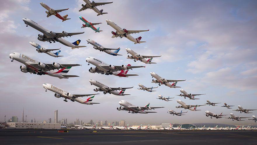 Dünya hava trafiğinin 2 yılda çekilen inanılmaz fotoğrafları